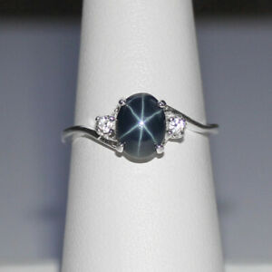 Genuine Blue Star Sapphire Ring Sterling Silver 925 / Oval-Shaped