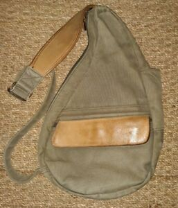 AmeriBag LL Bean Canvas and Leather Sling Backpack  Bag Army Green