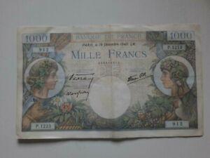 Rare old vintage ancient Banknote 1000 Francs France 1940