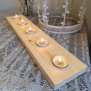 Rustic Wooden Tea Light Candle 5 Holder Redwood Handmade In UK Natural Wood Gift