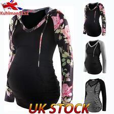 UK Womens Pregnant Maternity Print Hoodie Top Long Sleeve Sweatershirt Pullover