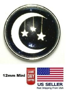 Snaps Jewelry Crescent Moon & Stars Glass 18-20mm Fits Ginger Charms Accessories