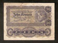 Austria 10 Kronen 1922 # 1032 / 302792 Osterreich Banknote