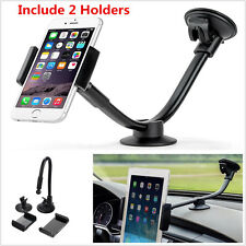 Universal Car Windshield Dashboard Long Arm Phone Mount Holder W/2 Size Holders