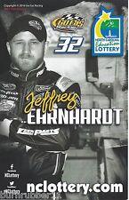 "2016 JEFFREY EARNHARDT ""NORTH CAROLINA LOTTERY"" #32 NASCAR B/B POSTCARD"
