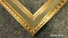1227M Vtg 36x24 Ornate WOOD Picture/Mirror Frame Gold Foiled w/Sage Green Burlap