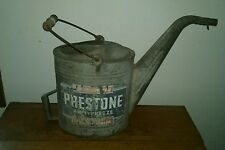 Vintage 1940s Prestone Anti-Freeze Radiator Water Gas Station Oil Metal Can Sign