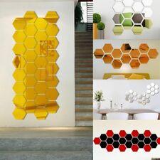 120Pcs 3D Miroirs Mosaïque Adhésif Autocollant Sticker Hexagone Mural Décor DIY