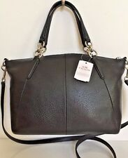 NWT Coach 36675 small Kelsey Pebble Leather Satchel Handbag Black with gold