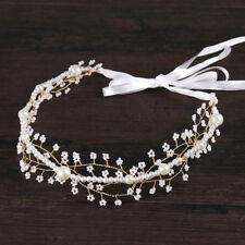 Bridal Haidband Pearl Wrap Flower Ribbon Hair Tiara Headpiece Crystal Crown