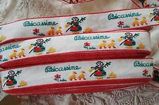 1y VINTAGE FRENCH BECASSINE DOLL DUCK COTTON JACQUARD APPLIQUE RIBBON TRIM DRESS