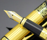 HERO 901 Medium Nib Fountain Pen Luxury Black & Gold Stainless Sign Pen