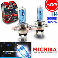 MICHIBA H4 60W/55W 5000K Xenon SUPER WHITE Halogen HeadLight Bulbs for Low Beam