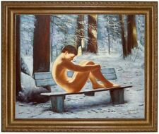 Ölbild Akt-Erotik Männerakt nackter Mann im Wald Nude HANDGEMALT, 50x60cm