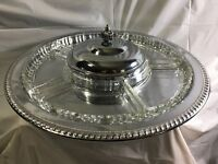 Vintage Beautiful Elegant 8 Piece Lazy Susan Party Condiment Serving Tray