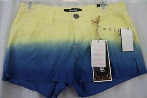 Rewash Juniors Shorts Sz 7 Yellow Blue Tie Dye Studded Casual Short Shorts