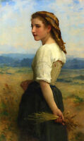 Oil painting Bouguereau - Gleaners Young girl portrait in field in summer canvas