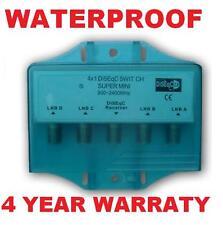 WATERPROOF DISEqC 4X1 SATELLITE MULTI-SWITCH FTA LNB FREE TO AIR DISH NETWORK