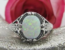 Oval Opal Sterling Silver Filigree Ring Sz 6 Antique Vintage Art Deco Style