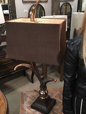 "FARMHOUSE LODGE DECOR FAUX DEER ELK ANTLER TABLE LAMPS MODERN ACCENTS XL 34"""