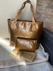 Authentic Louis Vuitton Set Bronze Vernis Houston Bag Matching Ziparound Wallet