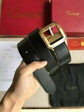 New Cartier Black Leather Reversible Buckle Logo Belt 120cm 3.5cm