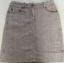 Boden indigo blue white ticking stripe cotton short mini skirt,8 10 38 S XS fit