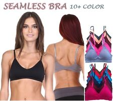 Seamless Plunge V SPORTS BRA Bralette Crop Tank Top Light Pad Bra Yoga Work Out