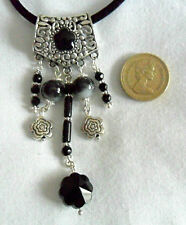 "19"" necklace - Tibetan silver + black glass beads pendant"