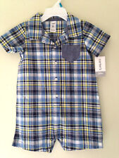 NWT Carter's Sweet Baby Boy Blue Yellow Plaid One Piece Shirt Bodysuit 24 M $28
