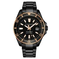 Stuhrling 3950A 9 Aquadiver Date Stainless Steel Black Dial Black Mens Watch