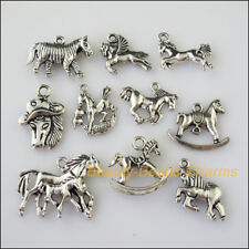 10 New Mixed Lots of Tibetan Silver Tone Animal Horse Charms Pendants