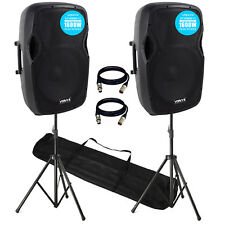 "AP15-A V4 3200W IPP Active DJ PA Club 15"" Speaker Package with Stands & Cables"