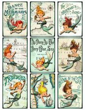 Vintage Little Girl Mermaid 9 x DIY Gift Tags set 1 - Party Birthday Craft Cards