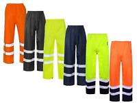 Hi Vis Viz Visibility Work Wear Safety Over Trousers Waterproof Pants