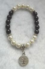 BLACK ONYX & PEARL Bracelet + TREE of LIFE Charm - Crystal Gemstone Healing