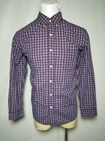 Chaps XL Burgundy Red White Plaid Easy Care Men's Casual Button-Down Shirt