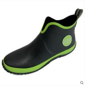 New Stylish Mens Fishing Rain Boots  Non-slip Casual Rubber Waterproof Shoes US