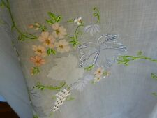 Gorgeous Vintage Blue White Organdy Linen Hand Embroidered Tablecloth Banquet