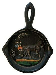 Vintage Very Small Cast Iron Skillet Ashtray Unmarked Horse & Buggy Raised Paint
