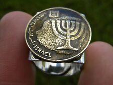 Men Ring Hebrew Israel coin Holy land Jerusalem Menorah Jewish nice gift for him