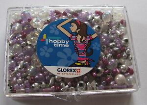 GLOREX *Perlenset*Schmuck basteln*Rocailles etc.*crystal/lila*ca 45 g gemischt