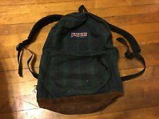 Jansport Vintage Backpack Green Plaid Suede Leather Bottom Made In USA 90's Bag