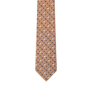 E. Marinella Hand Made Silk Neck Tie New With Tags Brown Flowers