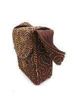 Vintage Beaded Box Purse Brown w Carnival Beads 1940s WW2