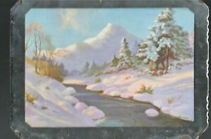Vintage Souvenir Hanging Picture Mirror  Mountain River and Snow View