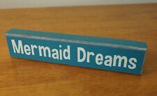 New listing Mermaid Dreams Teal Blue Block Sign Nautical Coastal Beach Tropical Home Decor