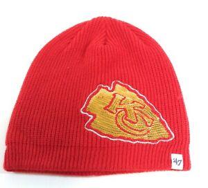 Womens '47 Brand Kansas City Chiefs Red Gold Sequins NFL Football Beanie Hat