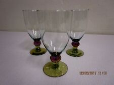 Footed Tumblers/Goblets With Green Foot and Iridescent Stem, Lot of 3