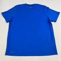 Nike Dri-Fit Athletic Shirt Men's 2XL XXL Short Sleeve Blue Crew Neck Polyester